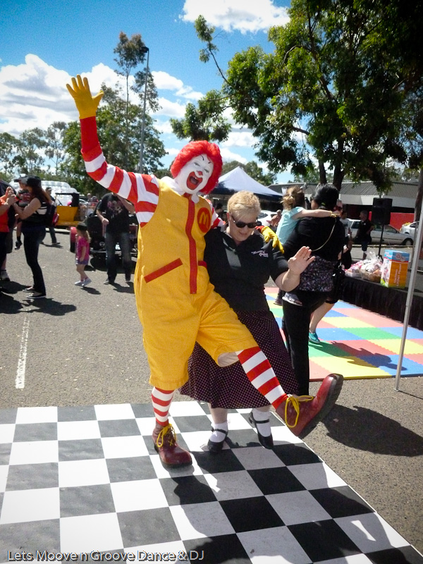 Ronald McDonald has a dance with Lets Moove n Groove Dance & DJ